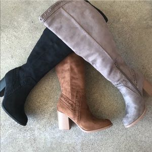 """Soda Shoes Charcoal Gray Tall 3"""" Stack Heeled Boot"""